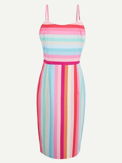 Rainbow Stripe Adjustable Straps Slim Dress