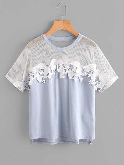 T-shirt con spalle a rete