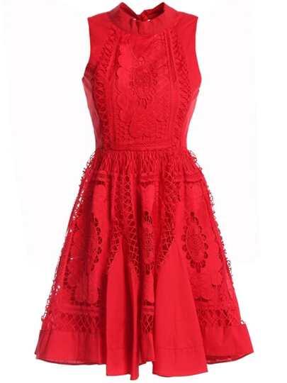 Bowknot Applique Pouf Backless Hollow Dress