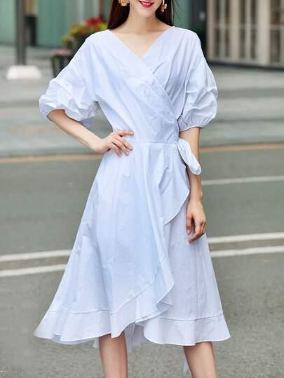 V Neck Puff Sleeve Ruffle Dress