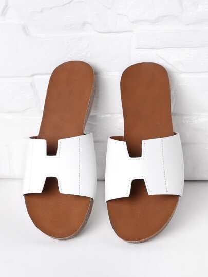 Simple PU Flat Slippers