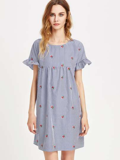 Keyhole Tie Back Ruffle Sleeve Striped Embroidered Smock Dress