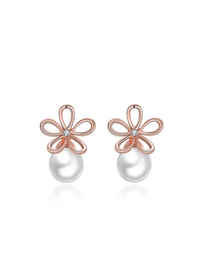 Faux Pearl And Flower Earrings