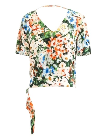 Floral Print Knot Back Top