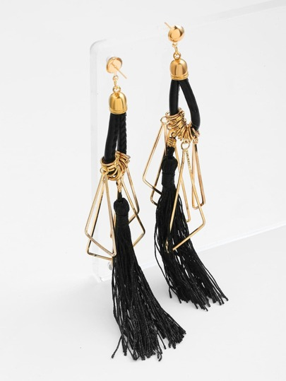 Metal Triangle And Tassel Detail Drop Earrings