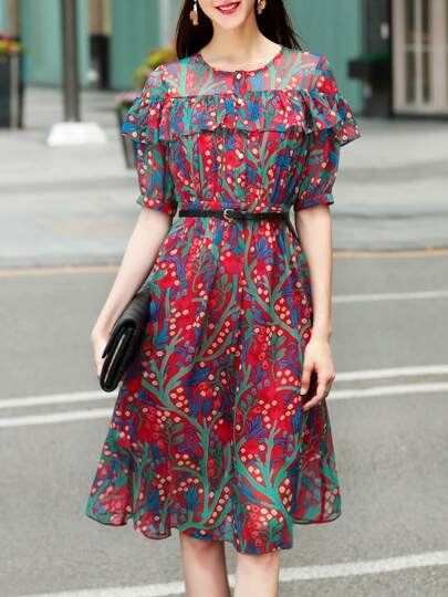 Crew Neck Flounce Floral Dress