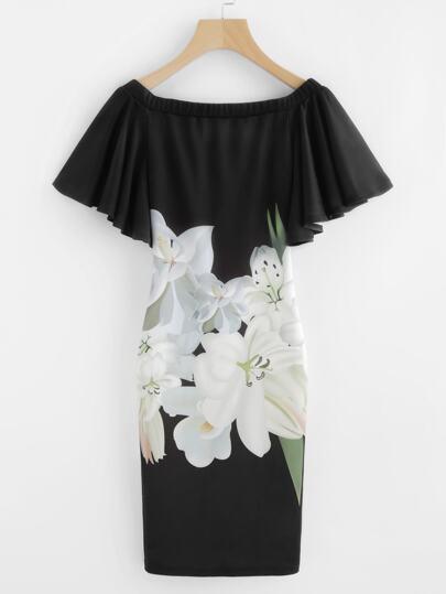 Robe manche papillon imprimée des fleurs