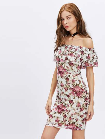 Off-the-Shoulder Floral Sheath Dress