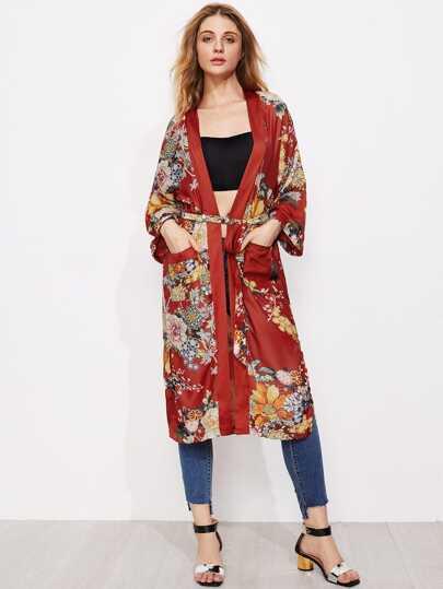 Open Front LongLine Kimonos With Self Tie