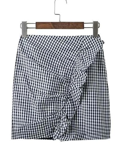 Checkered Frill Trim Skirt