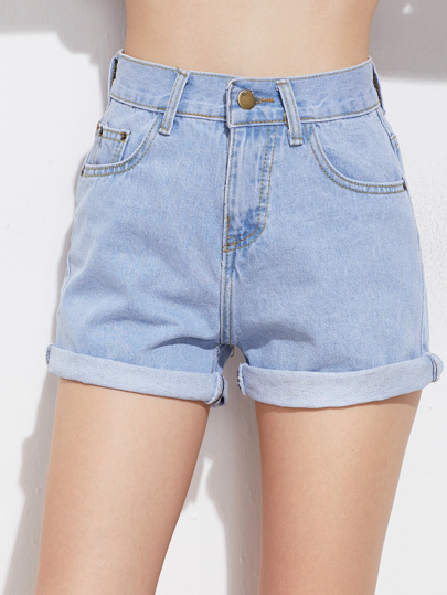 Rolled Cuff Denim Shorts