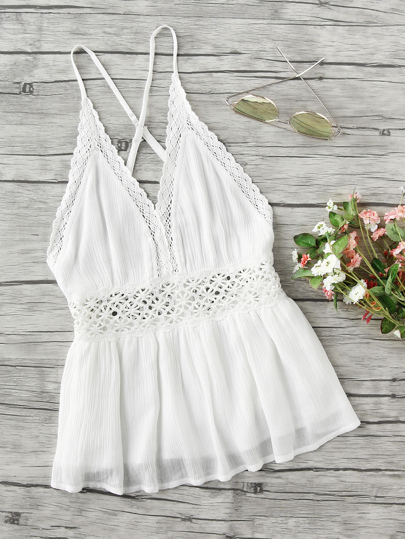 Lace Trim Criss Cross Backless Pleated Cami Top