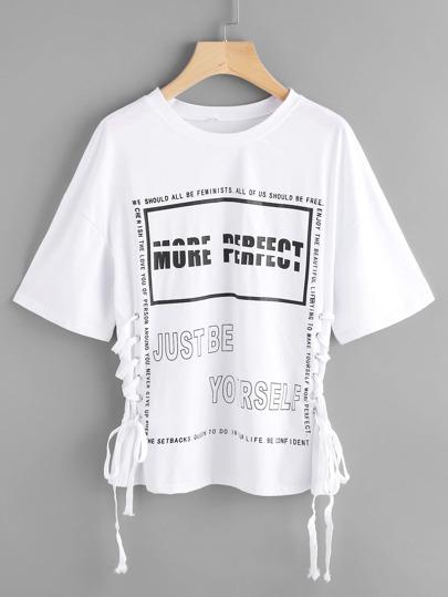 Модная футболка со шнуровкой и принтом