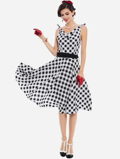 Checkered Tie Shoulder Draped Detail Circle Dress