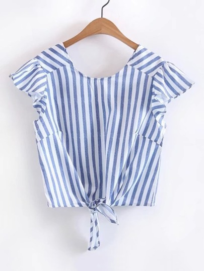 Vertical Striped Knot Front Frill Trim Top
