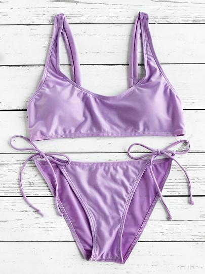 Side Tie Scoop Neck Bikini Set