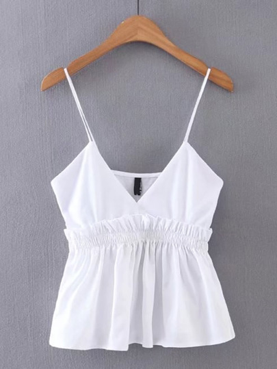 V-Cut Frill Trim Cami Top