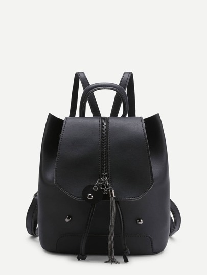 Chain Tassel Detail PU Backpack