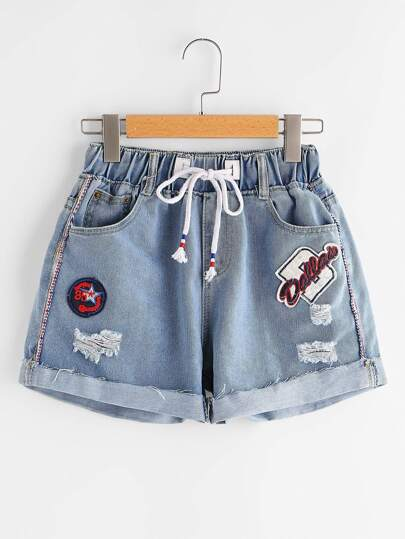 Ripped Cuffed Denim Shorts With Embroidered Badges