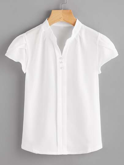 Cap Sleeve Mandarin Collar Blouse