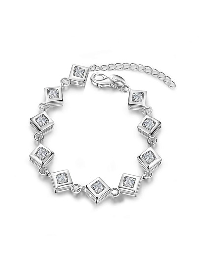Square Metal Design Charm Bracelet With Rhinestone