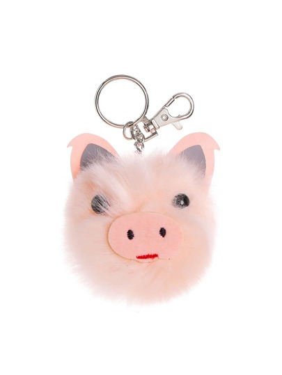 Pig Shaped Pom Pom Keychain