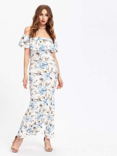 Allover Florals Flounce Layered Neckline Slit Back Dress