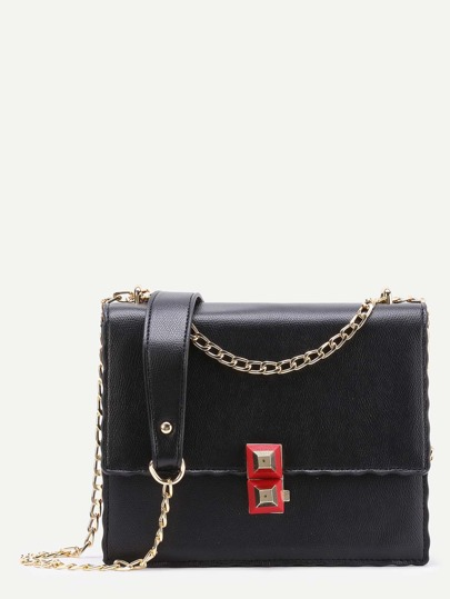 Double Studded Embellished Chain Bag