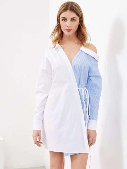 Asymmetric Shoulder Mixed Media Surplice Wrap Dress