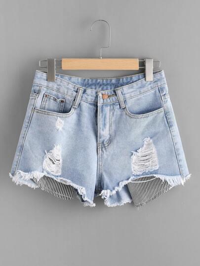 Destroyed Contrast Stripe Patch Fray Hem Denim Shorts