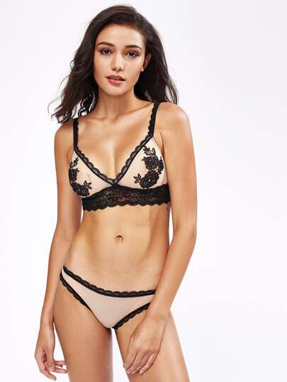 Contrast Scallop Lace Trim Lingerie Set