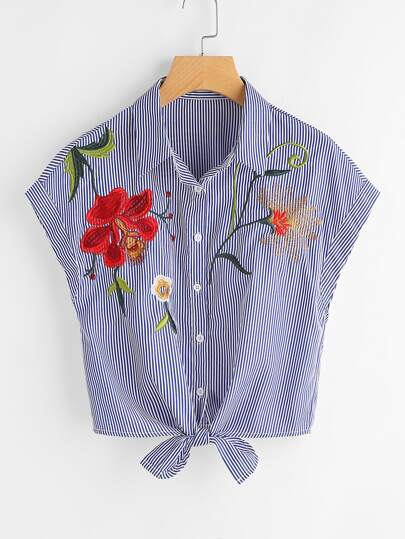 Vertical Pinstripe Embroidered Tie Hem Blouse