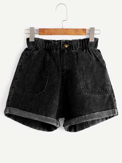 Shorts cintura elástica en denim - negro