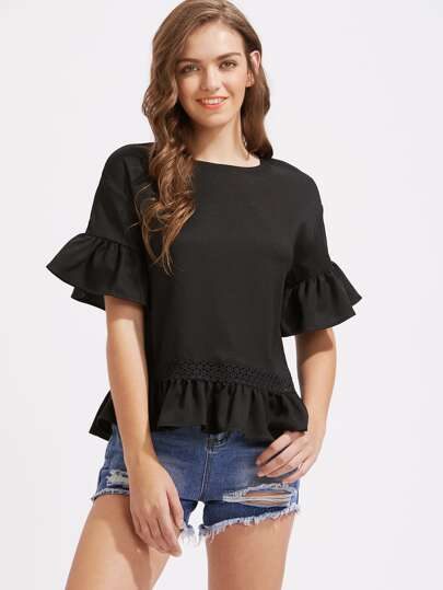 Frill Trim Crochet Insert Top