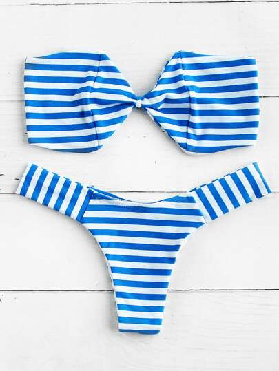 Striped High Leg Bandeau Bikini Set