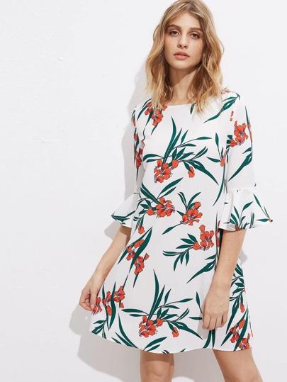 Fluted Sleeve Botanical Dress