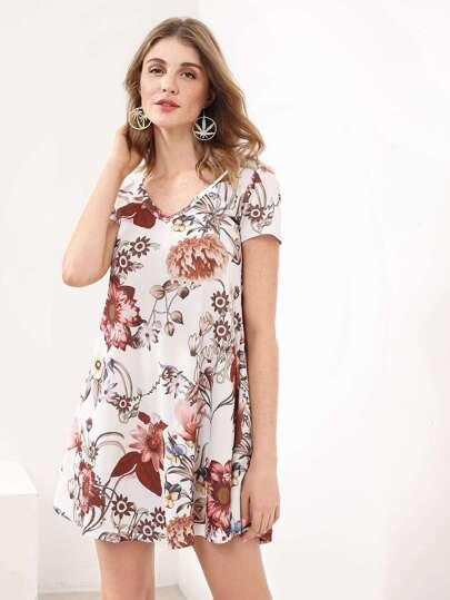 Floral Print Swing Tee Dress