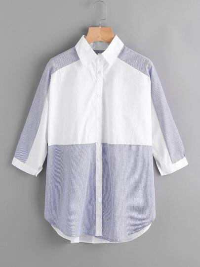 Contrast Panel Pinstriped Curved Hem Shirt