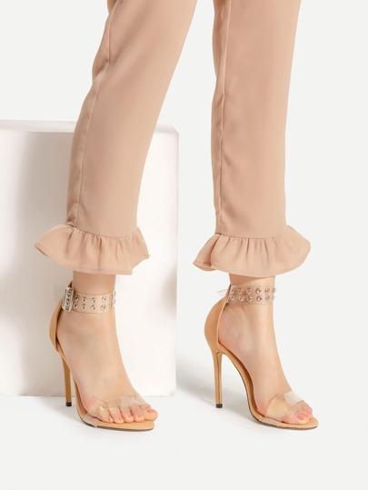 Sandales à talons hauts à maille avec bride