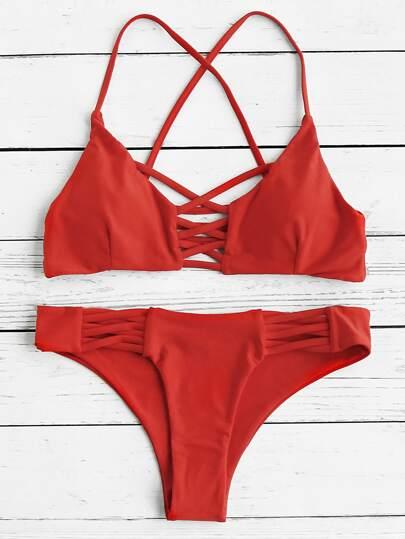 Set di bikini aperto sulla schiena
