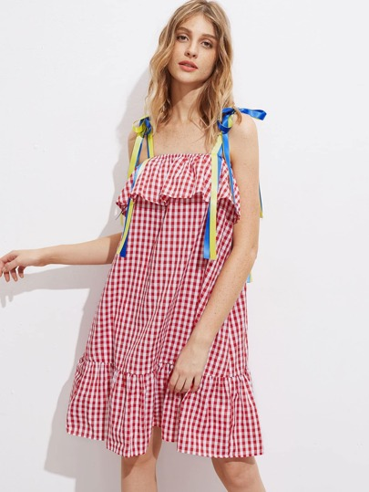 Self Tie Ribbon Strap Tiered Hem Frill Gingham Dress