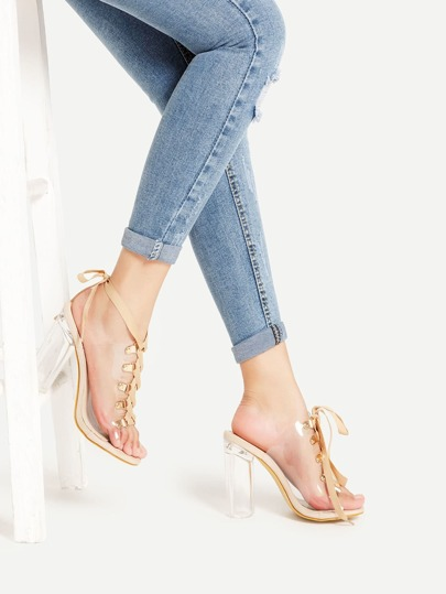 Clear Design Lace Up Block Heeled Sandals