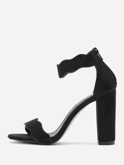 Zipper Back Ankle Strap Block Heeled Sandals