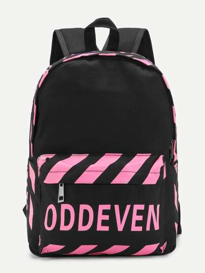Letter Print Stripe Detail Canvas Backpack