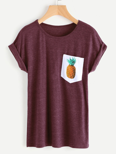 T-shirt con stampa di ananas a contrasto