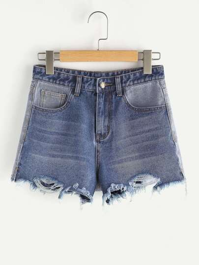 Short desgastado en denim