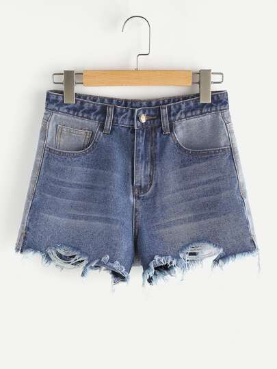 Two Tone Raw Hem Denim Shorts