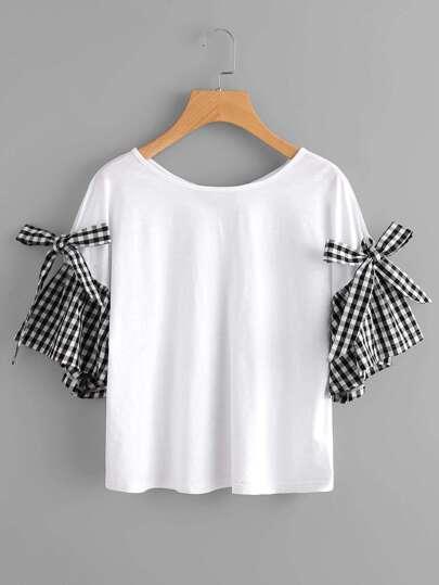 Tee-shirt manche cloche à carreaux avec nœud papillon