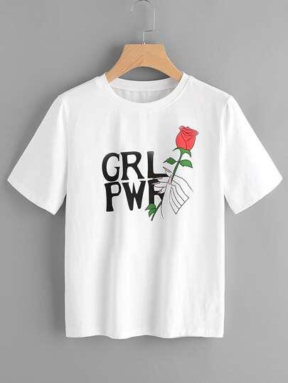 Tee-shirt manche courte imprimé des roses