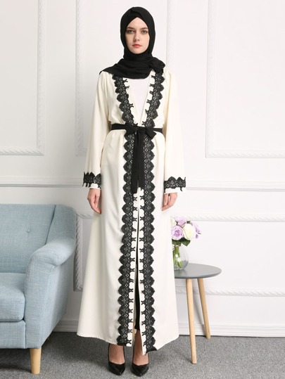 Contrast Lace Trim Self Tie Longline Abaya
